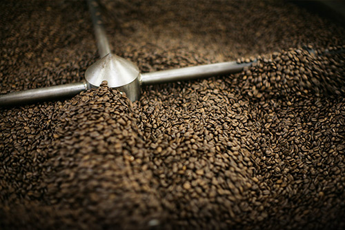 coffee beans being mixed